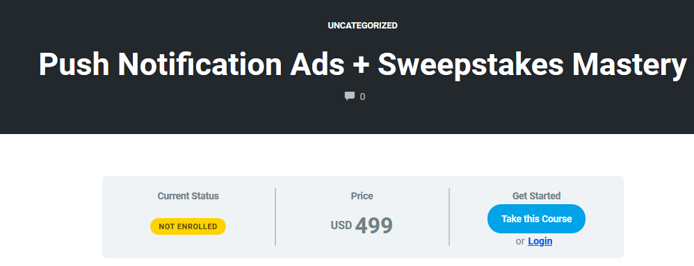 Push Notification Ads + Sweepstakes Mastery