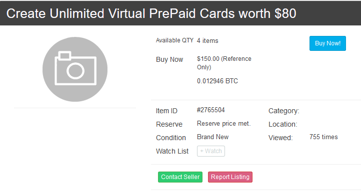 Create Unlimited Virtual PrePaid Cards worth $80